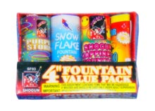 Fireworks - Fountains Fire Works have one or more tubes that spray bright colorful sparks and loud crackle sparks high into the air! - 4in FOUNTAIN PACK