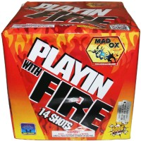 Fireworks - 500g Firework Cakes - Playin with Fire - 14 shots w/ Fan Effect - 500g Fireworks Cake
