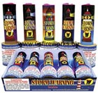 Fireworks - Fountains Fire Works have one or more tubes that spray bright colorful sparks and loud crackle sparks high into the air! - STORM WARNING