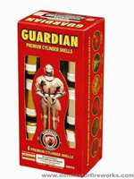 Fireworks - Reloadable Artillery Shells/Mortars Fireworks For Sale- Relodable Kits contain a mortar tube and several shells that are loaded and fired one at a time. - Guardian - 6 shot - Artillery Shells