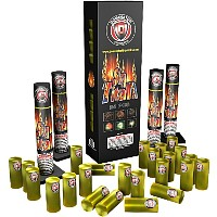 Fireworks - Reloadable Artillery Shells/Mortars Fireworks For Sale- Relodable Kits contain a mortar tube and several shells that are loaded and fired one at a time. - Sky Titan - 60g Canister Artillery Shells