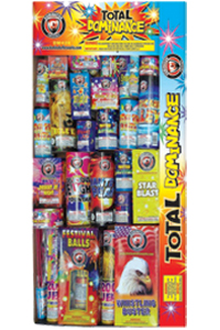 Fireworks - Assortments - These fireworks packs provide a wide variety of pyrotechnic effects all in one package! - Total Dominance  Fireworks Assortment